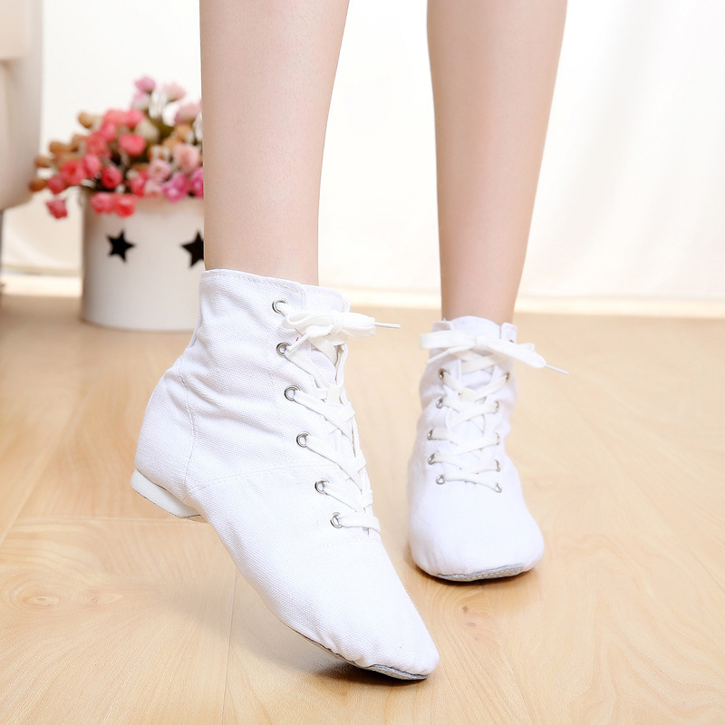 canvas jazz boots shoes women lace up jazz shoes men cotton canvas upper suede sole dance shoes dance boots