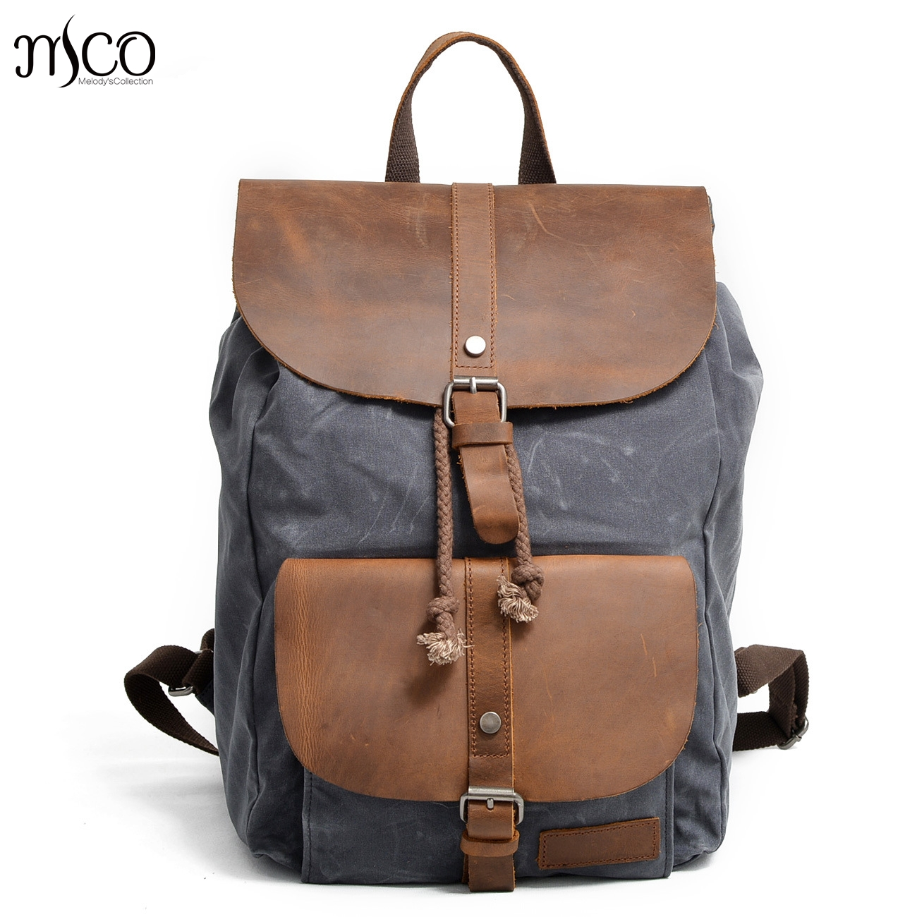 MCO 2018 Vintage Waxed Canvas Men Backpack Military Oiled Leather School Backpacks Male Business Rucksack Waterproof Travel Bag цена 2017