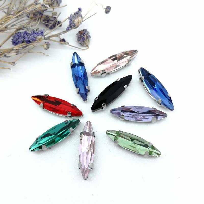 4*15 Mm Kuda Mata Kristal Kaca Menjahit Berlian Imitasi Perak Bawah dengan D Bentuk Cakar DIY Wanita gaun 20 Pcs