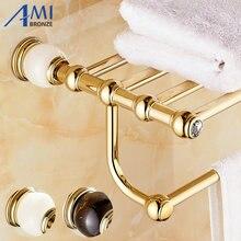 GJade Série Ouro Polonês Copper & Jade/Mármore Continental Acessórios Do Banheiro Louças Sanitárias Toalheiro Barra de Toalha Prateleira de Toalha