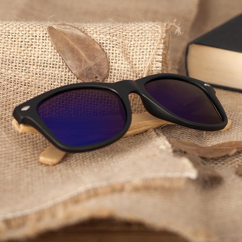 BOBO BIRD Black Square Sunglasses With Bamboo Mirrored 12
