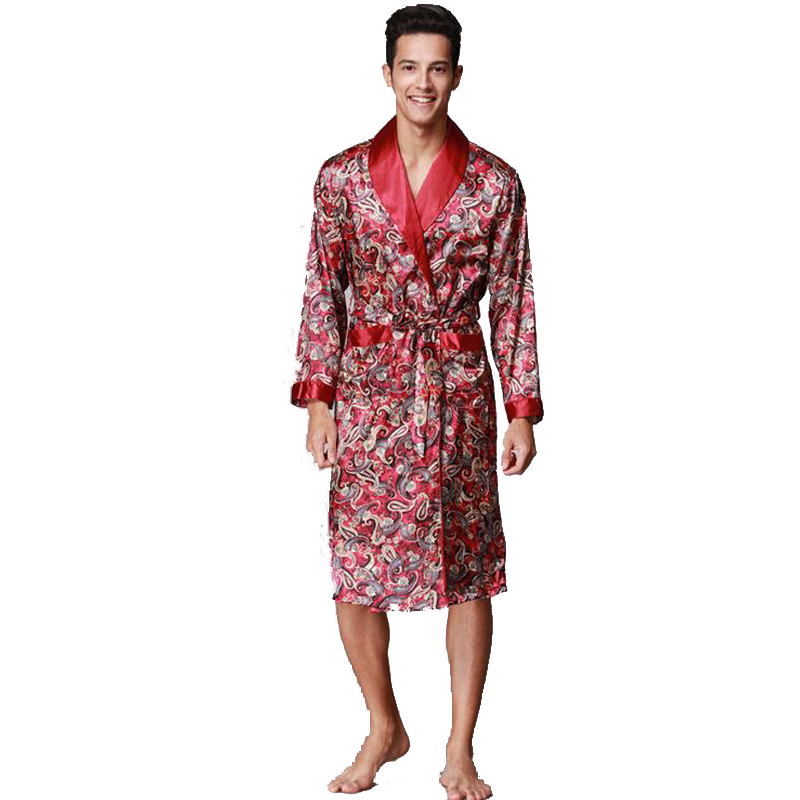 Male Silk Kimono Bath Robe Gown Chinese Men's Rayon Nightwear V-Neck Sleepwear Bathrobe Pajama Pijamas Traje De Los Hombres