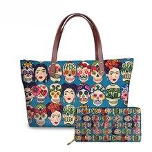 NOISYDESIGNS Sugar Skull Printing Handbags Women Large Top-Handle Bags Ladies Shoulder Bag for Females 2pcs/set Hand Bag&Wallet