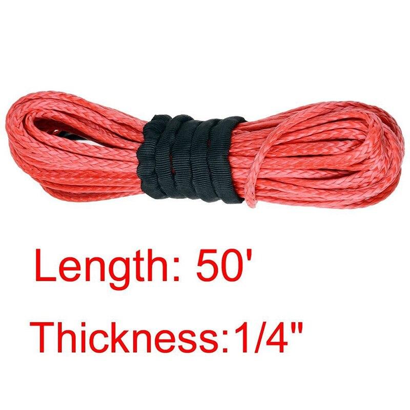 Новые поступления 1/4 х 50 15 м * 6 мм 7000lbs красный трос лебедки химическое кабельной линии с для ATV UTV внедорожных