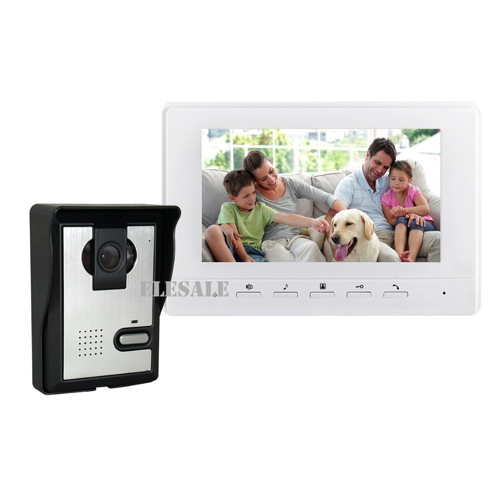 Home Security Video Intercom Door Phone Doorbell System IR Night Vision Camera 7 Color LCD Monitor tmezon 4 inch tft color monitor 1200tvl camera video door phone intercom security speaker system waterproof ir night vision 1v1