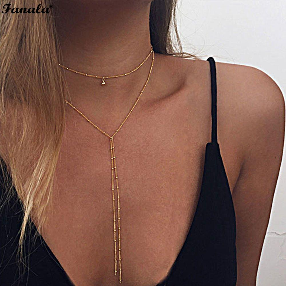 Women Necklaces for Statement Drop Simple Beads Lariat Choker kolye Water collier Sexy Long femme multilayer Jewelry Chain party