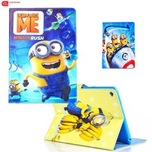 For Ipad Air Case 2 Cartoon New Minions Character Filp PU Leather Stand Smart Cover Screen Film