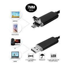 HD 2 в 1 Эндоскопа Android ПК USB 7.0 ММ 6LED Водонепроницаемый Эндоскопа Инспекционной Камеры Инспекции с 1/2/5/10 М Длина Кабеля Мини