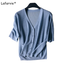 Lafarvie V-Neck Knitted Linen Sweater Women Cardigan Summer Spring Half Sleeve Single Breasted Soft Comfortable Knitting Jumper double breasted v neck knitting cardigan