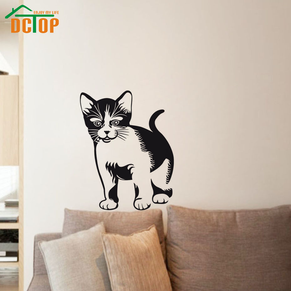 Lifelike Wall Art Home Decor Cute Cat Wall Stickers Removable Decals For Cat Lovers