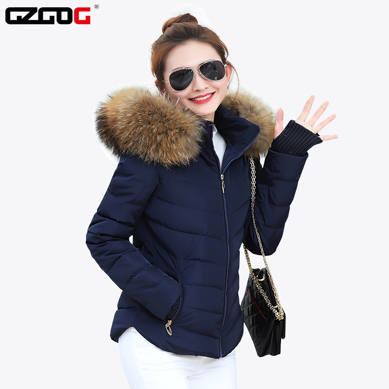 Winter Jacket Women winter warm down jacket women short paragraph Slim Artificial raccoon Fur collar large yards women's cotton