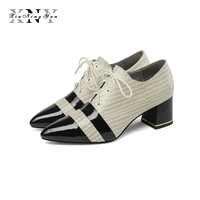 XIUNINGYAN 2019 Female Pumps Cow Leather Shoes Autumn Lace Up Office Shoes High Heel Metal Buckle Shoes Woman Large Size 34 43