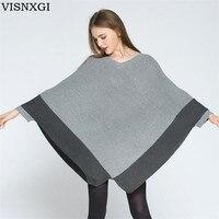 VISNXGI Autumn Winter Sweater 2018 Casual New Women Irregular Knitted Bat Loose Outerwear V Collar Long Sleeved Pullover Sweater