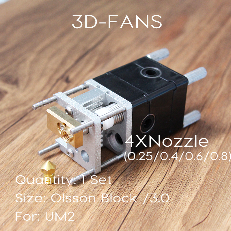 3D Printer Parts UM2 Ultimaker 2 dual Extruder Olsson Block Kit HotEnd Dual Heads Nozzles 0.25 0.4 0.6 0.8mm For 3.0mm Filament newest 2017 cheaper ultimaker 2 um2 extended 3d printer part dual nozzle olsson block hotend header head for 1 75mm filament