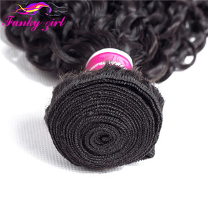 Image 4 - Funky Girl Malaysia Kinky Curly Hair 3 or 4 Bundles with Closure Free Part Human Hair Weave Bundles With Closure Non Remy Hair