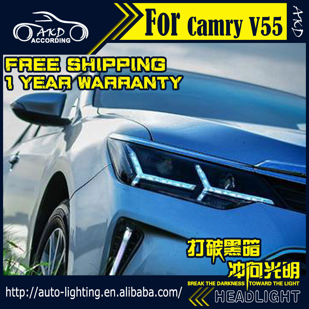 AKD Car Styling Head Lamp for Toyota Camry Headlights 2015 Camry V55 LED Headlight DRL H7 D2H Hid Option Angel Eye Bi Xenon Beam brand new original replacement hid bi xenon projector headlights for toyota camry 2012 2014