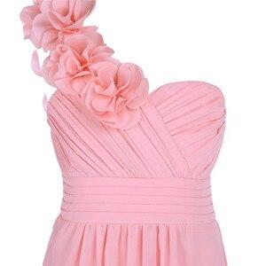 Image 4 - Dziewczyny szyfonowa suknia ślubna jedno na ramię plisowana wysokiej zwężone kwiat dziewczyna sukienka księżniczka piętro długość korowód suknia ślubna
