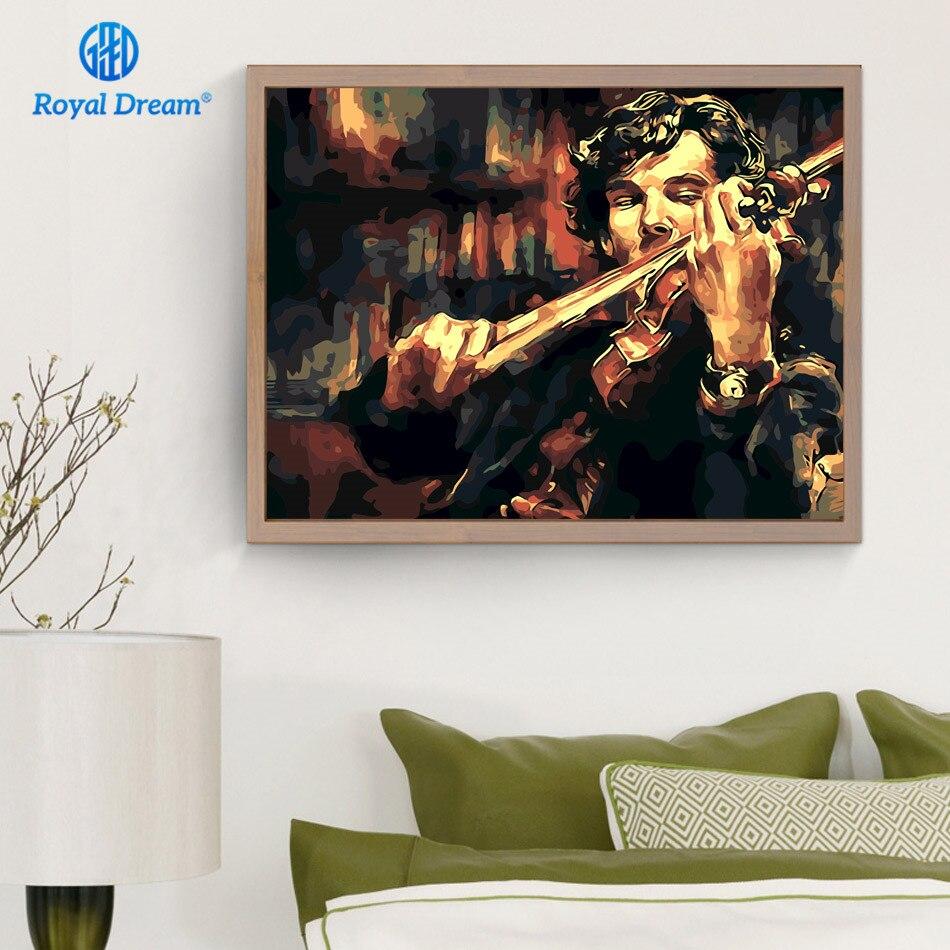 Sherlock Holmes mit violine Ölgemälde Durch Zahlen DIY Öl malerei ...