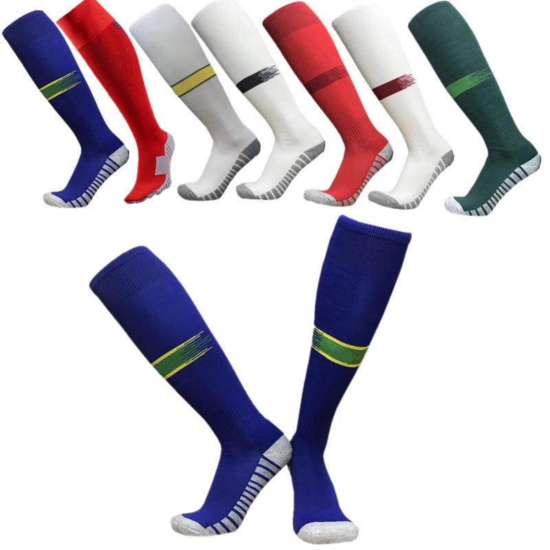 18 19 Kids Long Knee Stock Soccer Sports Socks Breathable Outdoor Soccer Compression Men Women High Knee Towel Socks