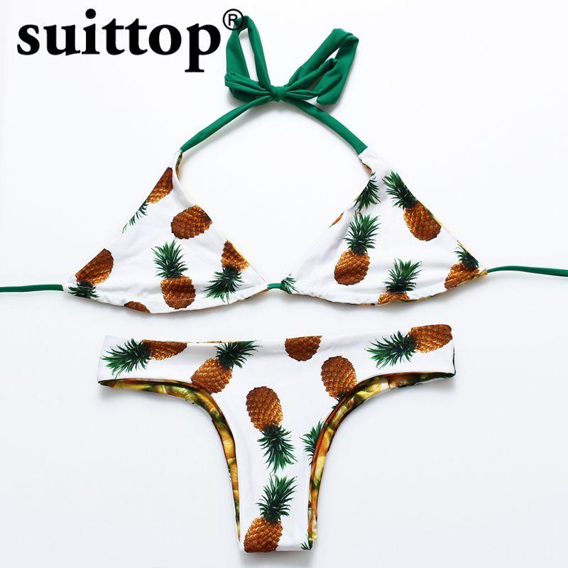 costum de baie Bikini 2017 de vară Ananas imprimat Maillot De Bain - Imbracaminte sport si accesorii
