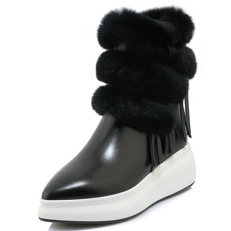 Casual Court Conasco formes Noir Chaussures Hauts Talons Bottes Mode Chaud Véritable Martin Femme Cheville Plates En Cuir Coins 1 Zipper qq4BU7rWO