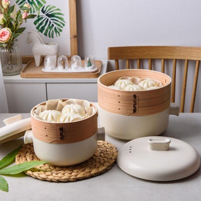 Double-layer Steamer Ceramic Casserole Kitchen High Temperature Resistan Steamer Casserole Steamer Stew Pot Cooking Pot