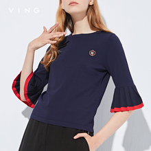 VING 2017 Autumn New Arrival Women Sweatershirts O-Neck Hit Color Badge Sweater Casual Three Quarter Sleevel Tops