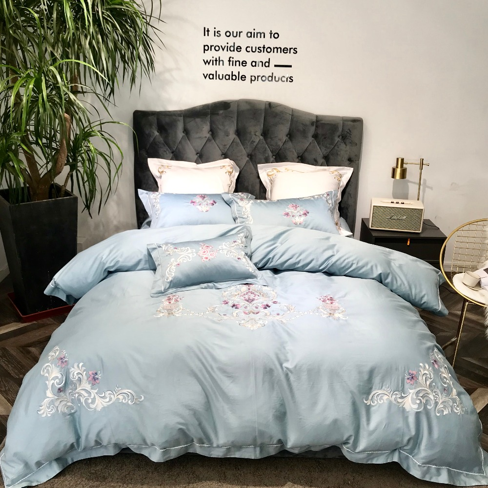 4PCS Luxury Embroidery 60S Egyptian cotton flat sheet pillowcase duvet cover sets light blue green color