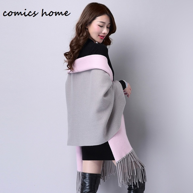 Autumn New Women's Elegant cardigan Socialite Cashmere Tassel Cardigan Sweaters Batwing Sleeves Scarf Cape Outwear Good Quality