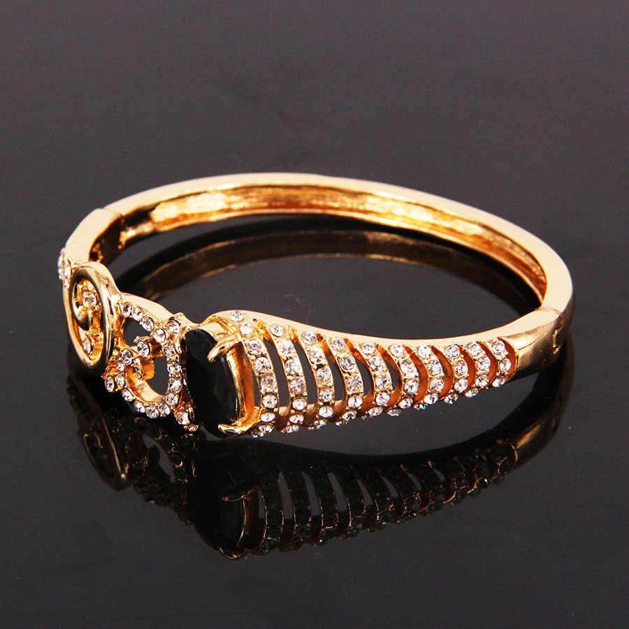 ... ERLUER dubai gold color bracelets bangles for women girls black  Austrian crystal rhinestone wedding fashion African 23b7d53acf4e