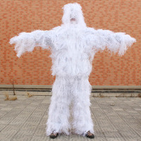 White Snow Camo Suit Ghillie Suit Yowie Sniper Tactical Camoflage Suit for Hunting Birdwatching
