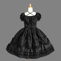 Customized 2018 Classic Sweet Slim Bow Lolita Dresses Short Sleeve lace OP Costume For Girl 7 Colors Drop Shipping