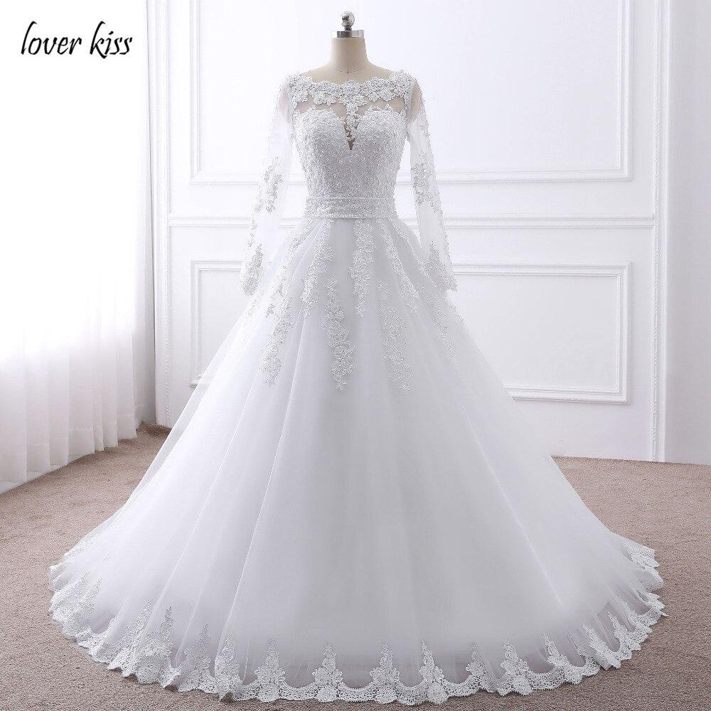 Amant Baiser Robe de noiva Perles Perlée À Manches Longues Robe de Mariée En Dentelle de Mariée Robes de Mariée avec Arc 2018 Robe de mariage