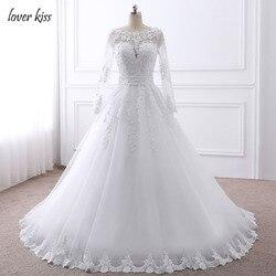 Amante beijo vestido de noiva pérolas frisado manga longa vestido de casamento renda noiva vestidos de casamento com arco 2019 real robe de mariage