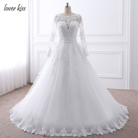 Lover Kiss Vestido de noiva Pearls Beaded Long Sleeve Wedding Dress Lace Bride Wedding Gowns with Bow 2018 Robe de Mariage