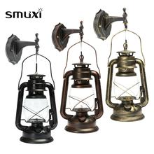 Smuxi Rustic Antique Vintage Style E27 Retro Lantern Wall Lamp Sconce Light Fixture Aisle Balcony Home Decoration Wall Lamp(China)