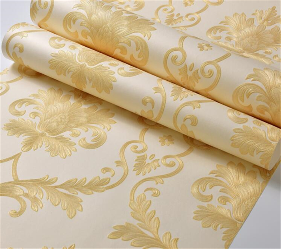 цены Beibehang European Wallpaper Bedroom Wallpaper thick Nonwovens Living Room 3D Stereo yellow TV Background wall 3d Wallpaper roll