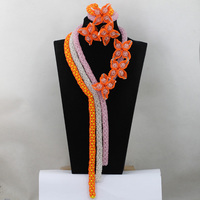 Fashion Pink/White/Orange Women African Beads Nigerian Wedding Jewelry Set Yellow Crystal Party Necklace Set Free Shipping QW193