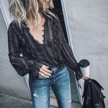 Fashion Women V-Neck Chiffon Boho Hippie Striped Long Sleeve Loose  Tops Blouses