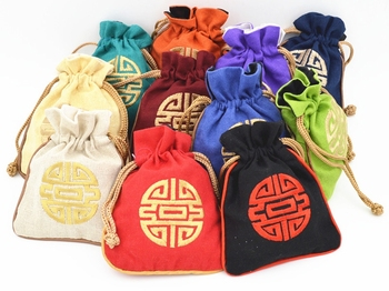 Chinese Cotton Linen Small Jewelry Gift Pouch Embroidered Lucky Drawstring Empty Tea Candy Bag Wedding Birthday 50pcs/lot 11x14