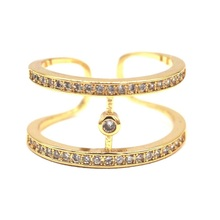 Micro Pave Zircon Double Layers Rings For Women Bijoux Gold color Classic New Fashion Jewelry Wholesale