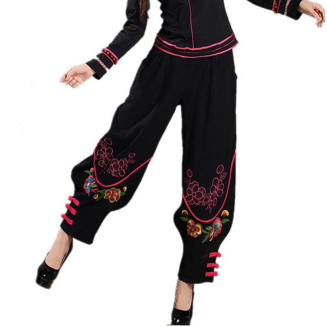 Mujeres Bordado Tradicional Chino Harem Pantalones 2016 Negro pantalones Anchos de La Pierna Bloomers Cintura Elástica Pantalones de Lino Pantalones Casuales Otoño