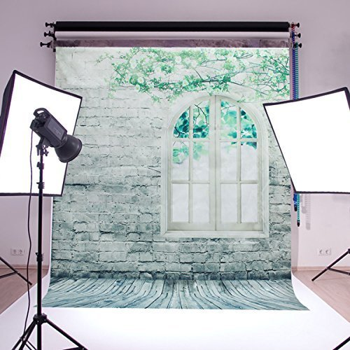 2.0*1.5m Brick Walls Window Photography Backdrop With Green Tree Nice Vinyl Screen Photograph