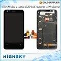 Lcd display de substituição para nokia lumia 620 com tela de toque digitador + montagem do quadro 1 peça frete grátis