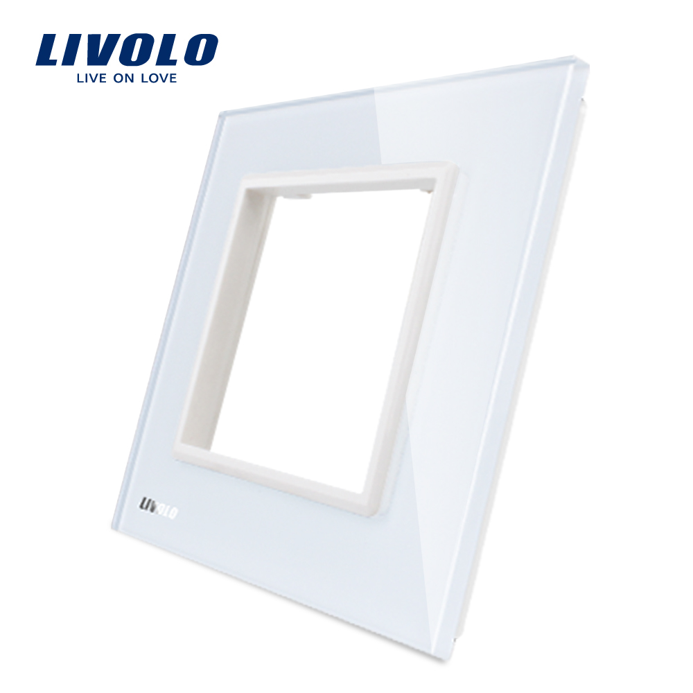 Livolo Luxury White Pearl Crystal Glass 80mm 80mm EU Standard Single Glass Panel For Wall Switch