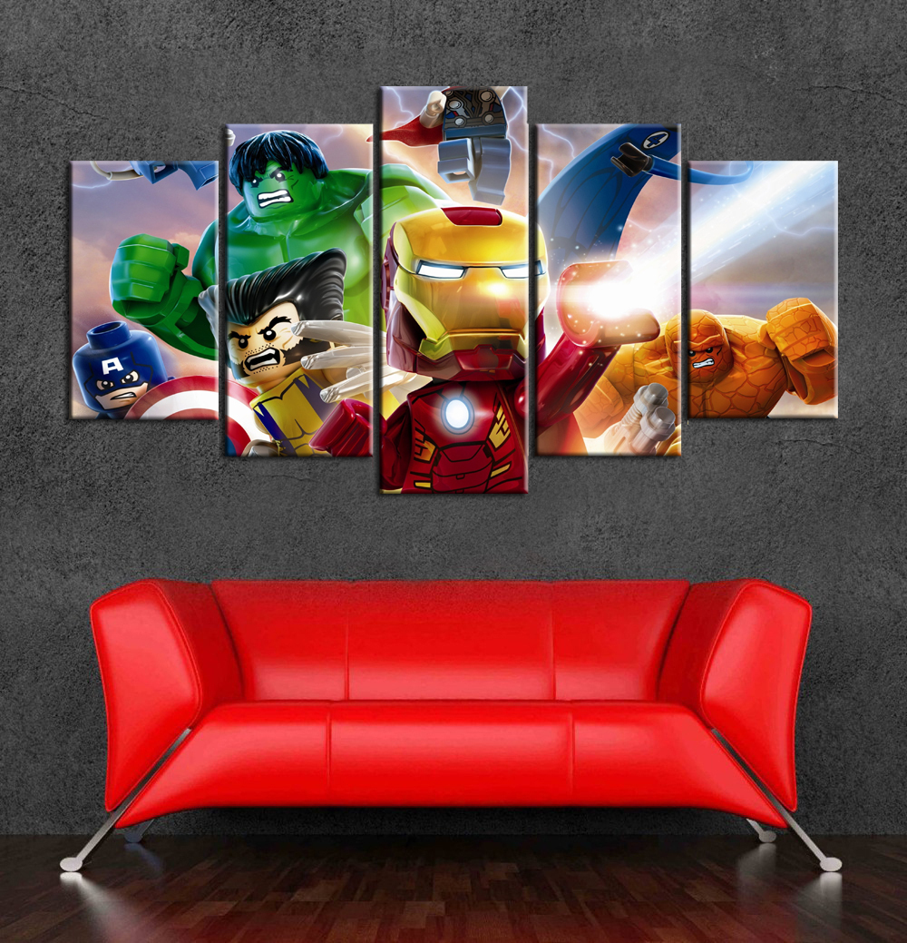 Marvel Superhero Lego Cartoon Canvas Art Painting Wall Decor Of 5 Pieces  For Kids Room Decoration In Painting U0026 Calligraphy From Home U0026 Garden On ...
