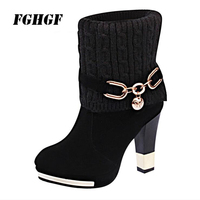 Thick with female boots High heeled leather boots for women Frosted wool middle boots Martin boots woman Large size 43