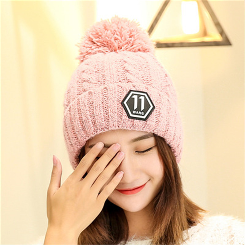 balaclava 2017 autumn and winter wool hat knitted hat Sphere letter labeling thick plush warm cap sleeve head hat female bonnet hat winter thick stickers letter knitted hat wool hat korean embroidery warm hats tide men and women