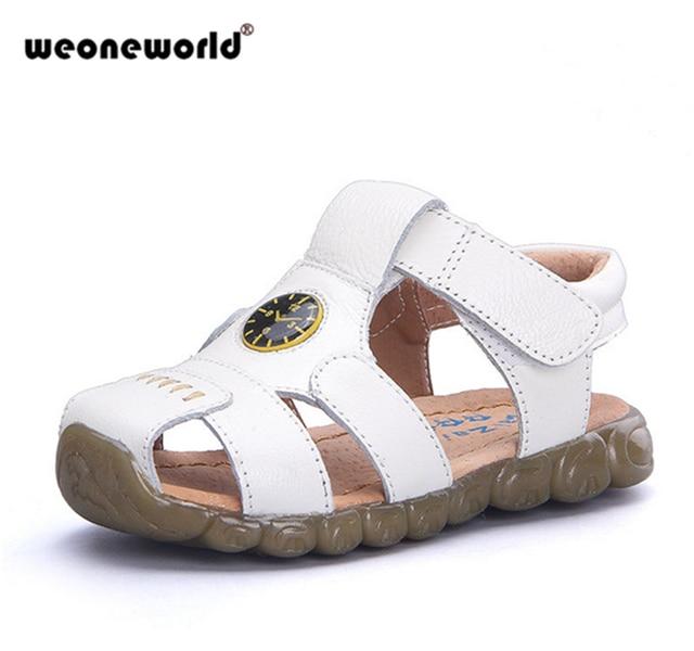 e8f257407594 WEONEWORLD 4 Designs Boys Soft Leather Sandals Children Baby Summer  Prewalker Soft Sole Genuine Leather Beach Sandals Size 21-36