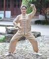 Beige Chinese Lady Wu Shu Uniform Women's Cotton Long Sleeve Kung fu Tai Chi Suit Size XXS XS S M L XL XXL XXXL 2527-1